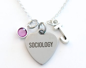 Sociology Necklace, Gift for Social Worker Jewelry, Masters Degree Graduation Birthday Present Birthstone initial letter her silver him her