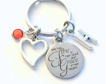 She has fire in her soul and grace in her heart Keychain, Gift for Daughter Key Chain, Best Friend Keyring, Purse Charm Niece Granddaughter
