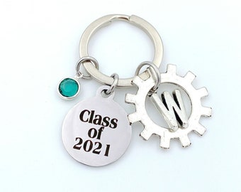 Engineering Graduation Gift Class of 2021, Mechanic Key Chain, Gear Keychain Grad Present for Electronic Student Keyring  Mechatronics