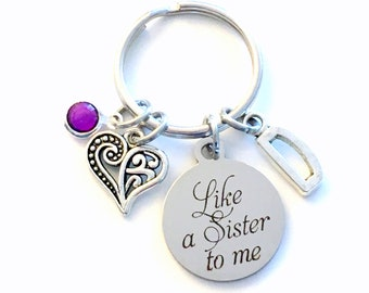 Unbiological Sister Keychain, Like a sister to me Key Chain, Gift for Sis in Law, Best Friend Initial Birthstone Present Jewelry step half