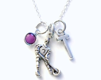 Ringette Jewelry, Monogram Girl's Necklace, Birthday Present Gift for Player Silver Charm Pewter Pendant Shop Canadian Seller Canada PEI her