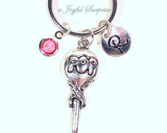 Personalized Lollipop KeyChain, Silver Sucker Key Chain, POP Candy Keyring Gift for Candy Lovers Gifts Jewelry initial birthstone her him