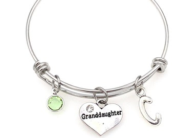 Granddaughter Charm Bracelet 60mm / Personalized Gift for Daughter Jewelry / Silver Bangle / Other Options - Mother Mom Sister Grandma heart
