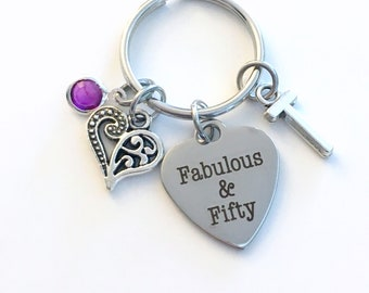 Gift for 50th Birthday Keychain, Fifty and Fabulous Key Chain, 50 Fiftieth her Birthstone Initial Present Jewelry Mother Women Best Friend