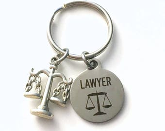 Gift for Judge Keychain, Lawyer Key chain, Legal Justice Scales Keyring, Retirement Graduation Women her Letter Initial Present Men ring him
