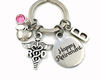 Retirement Gift for RD Keychain / Registered Dietician Keyring / Food Science Present / Apple Key Chain / men women him her / Coworker Boss