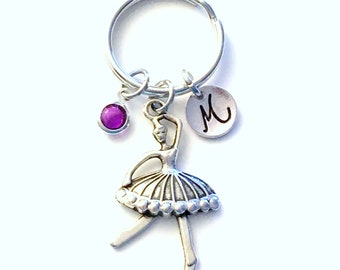 Ballerina Keychain, Ballet Key chain, Dancer's Keyring, Custom Personalized Dance gift for Teenage girl Initial letter birthstone teenager