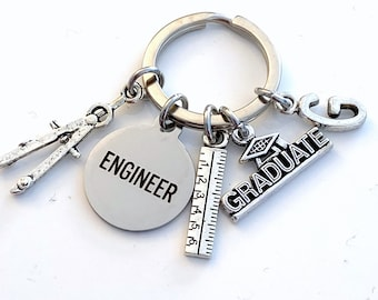 Graduation Gift for Engineer Keychain / 2021 Engineering Key Chain / Grad Keyring / Graduate Present for Her or Him / men Women son daughter