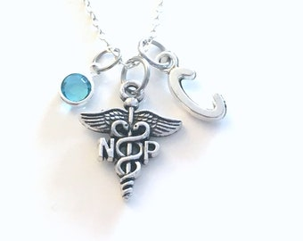Nurse Practitioner Gift, NP Necklace, Nursing Jewelry, Silver Caduceus Charm Personalized for birthday present for men women her coworker