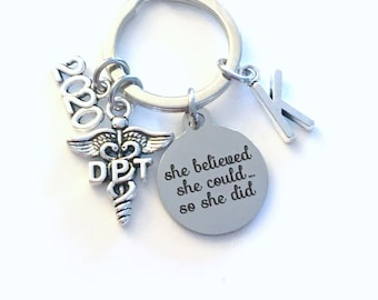 Graduation Gift for DPT Keychain / 2020 She believed she could so she did Key Chain / Doctor of Physical Therapy Keyring / Caduceus PT PTA