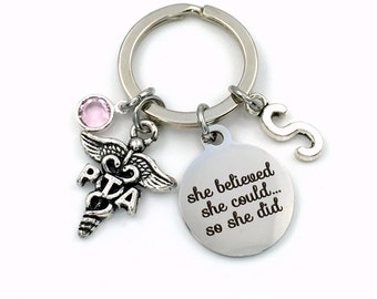 PTA Gift for her Keychain, She believed she could so she did Key chain, Physical Therapy Assistant keyring, PT Therapist Present, Graduation