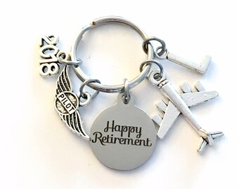 Pilot Retirement Present, Flight Instructor Key Chain Airplane Keyring him her men women present Retire Birthstone Man Gift for Wings Plane