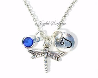 Dragonfly Necklace, Silver Dragon Fly Jewelry, Personalized gift for daughter Dragonflies Charm, Gardeners Secret sister niece granddaughter