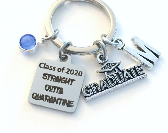 Featured listing image: Graduation Gift 2020 / Keychain for Class of 2020 / Straight outta Quarantine Key Chain / Grad Present for her or him / Graduate Keyring