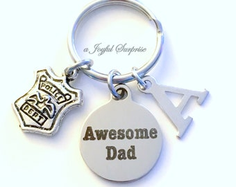 Gift for Police Dad Keychain, Officer Shield Key Chain, Father's Day present, Policeman Man Men Emblem Keyring Awesome Dad Initial Letter