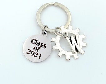 Mechanical Engineer Graduation KeyChain, Class of 2021 or other year Key Chain / Grad Present Gear Keyring / Gift for Mechatronics Mechanic