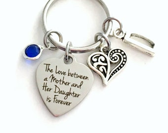 The love between a mother and her daughter is forever KeyChain Mom Keyring, Gift for Mother Day Key chain Jewelry Initial Birthstone present