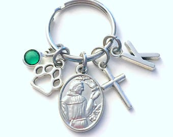 Saint Francis of Assisi Keychain for Animal Lover Key Chain, Patron St Cross paw present her men women mom ecology Gift for Dog Mom nature