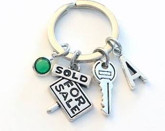 New Home Keychain, For First Time Home Buyer Key Chain, Housewarming Gift, Realtor Present Real Estate Sold For Sale Sign Initial 1st house