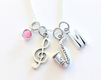 Saxophone Necklace, Sax Jewelry, Personalized Treble Clef Music Charm, Gift for Jazz Musician Player initial birthstone birthday present her