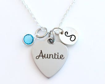 Auntie Necklace, Aunt Jewelry, Gift for Sister from Kids, Children Niece Nephew Birthstone initial letter her women long short personalized