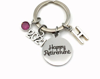 Retirement Gifts for Women Keychain / 2021 Retire Key chain for Him or Her / Happy Retirement Present / Coworker Boss Keyring / woman men