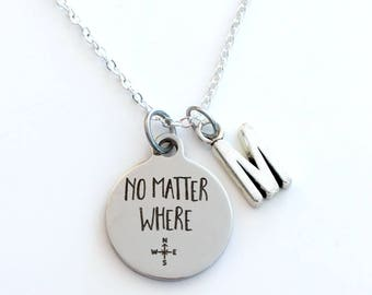 Moving Away Present, No Matter Where Necklace, Quarantine Gifts Jewelry, Gift for Son, Best Friend letter her Teenage girl boy silver BFF