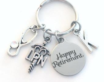 LPN Keychain Retirement Key Chain, Licensed Practical Nurse Keyring, Nursing Caduceus, Initial letter her him women birthstone stethoscope