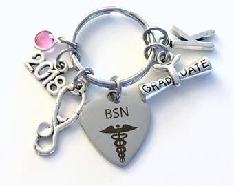 Graduation Gift for BSN Keychain, 2018 Bachelor of Science in Nursing Key chain Nurse Keyring her women letter initial Scroll stethoscope