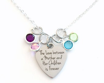 Mom Necklace with multiple birthstones Gift, The love between a Mother and Her Children is Forever Jewelry, Mother's Day Present 2 3 4 5 6 7