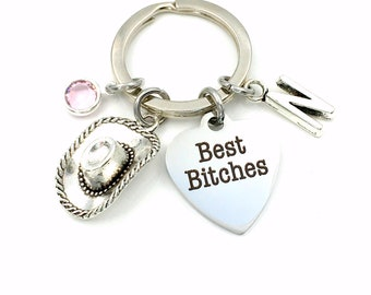 Cowboy Hat Gift for Best Friend Key Chain, Country Girls Best Bitches Keychain, Girlfriend Present, Farmers Keyring, BFF Bridal Party Gift