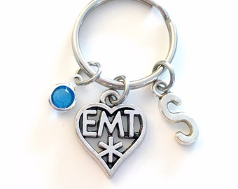 EMT KeyChain, Gift for EMT Keyring gift, Ambulance Driver Key Chain, Emergency Medical Technician Symbol initial birthstone him her women