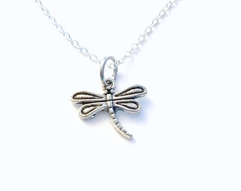 Dragon Fly Necklace, Silver DragonFly Jewelry, Dragonflies Charm, Gifts for Gardeners, Secret sister Necklace, Girls Jewelry Pewter Pendant