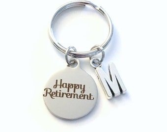 Happy Retirement Key Chain, Gift for Retiree Employee Boss Present, Coworker Keychain Retire Keyring Initial letter custom silver men women