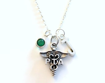 PTA Gift, Physical Therapy Assistant Necklace, Therapist Jewelry, Silver Caduceus Charm Personalized present for men women him her coworker