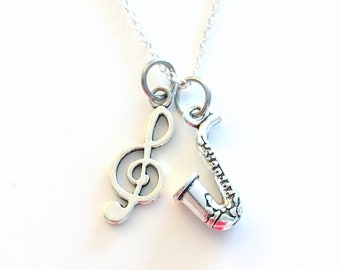 Saxophone Jewelry, Silver Sax Necklace, Gift for Jazz Musician Present, Band Student Instrument, Music Note Treble Teenage Boy Men Girl Teen