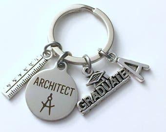 Graduation Gift for Architect KeyChain, Ruler Key Chain, Grad Keyring Jewelry Initial Birthstone him her men Graduate women compass present