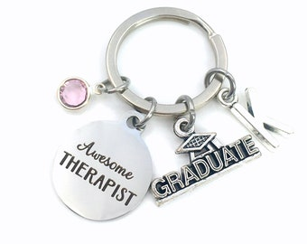 Graduation Gift for Therapist Keychain / Awesome Therapist Key chain / Counselor Keyring / Grad Present for her him / Graduate Therapy son