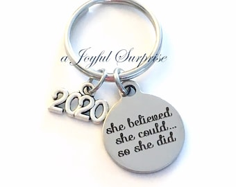 Job Promotion Gift, 2019 or 2020 Congratulation Key Chain, Milestone Achievement Keychain Keyring She believed she could so she did girl