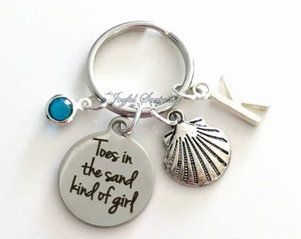 Toes in the sand kind of girl Key Chain, Silver Beach Keyring, Sea Shell Keychain Gift Clam Jewelry charm custom Initial Birthstone present