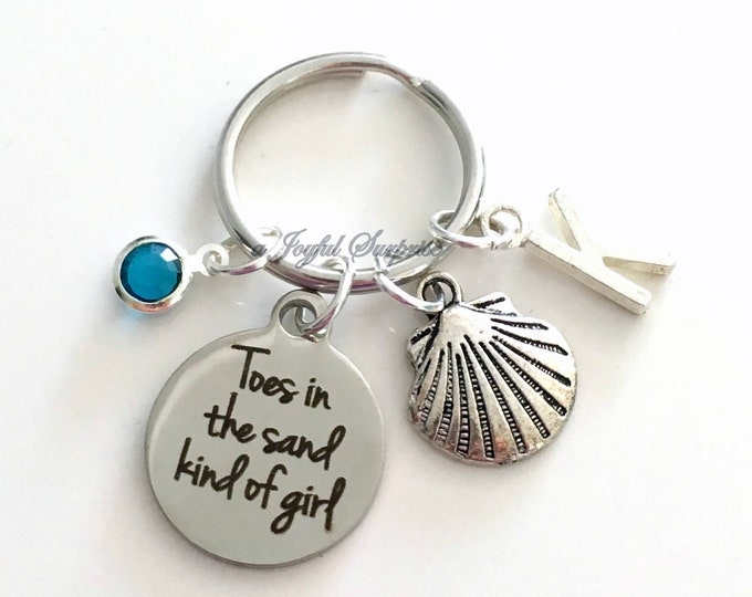 Featured listing image: Toes in the sand kind of girl Key Chain, Silver Beach Keyring, Sea Shell Keychain Gift Clam Jewelry charm custom Initial Birthstone present