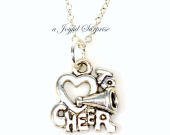 Silver Cheerleader Necklace, Gift for Cheerleading Captain Jewelry, I Love to Cheer Charm, Gift for Young Girl, Teenager Teen Teenage women