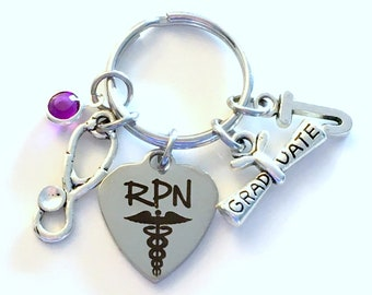Graduation Gift for RPN Keychain Key Chain, Registered Practical Nurse Practitioner, Grad Present Stethoscope her women Initial Birthstone