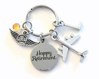 Retirement Gift for Airline Pilot Keychain, Air Plane Pilot Key Chain, Airplane Keyring, charm Initial letter her him men women birthstone