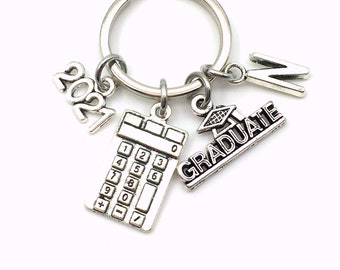 Graduation Gift for Accounting Keychain, 2021 Mathematics Present, Math Calculator Grad Key Chain , Other years available, Business Graduate