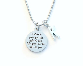 Adoption Gifts for Boys Necklace, I didn't give you the gift of life, life gave me the gift of you Jewelry, Gotcha Day Present Teen Teenager