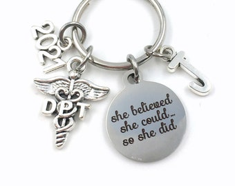 Graduation Gift for DPT Keychain / 2021 She believed she could so she did Key Chain / Doctor of Physical Therapy Keyring / Caduceus PT PTA