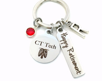 CT Tech Retirement Gift Key Chain / CAT Scan Technician Keychain for Women Men / Radiologist Key Chain / Xray Keyring / Happy Retirement
