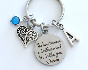 Gift for Goddaughter Keychain, The Love between a Godfather and Goddaughter is Forever, God Father Key Chain Daughter Niece Jewelry heart
