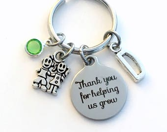 Thank you for helping us grow Keychain, Gift for Au Pair Key Chain, Nanny Keyring, Letter Men Him Birthstone Initial Present Teacher Jewelry